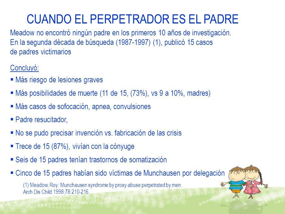 CUANDO EL PERPETRADOR ES EL PADRE Meadow no encontró ningún padre en los primeros 10 años de investigación. En la segunda década de búsqueda (1987-199