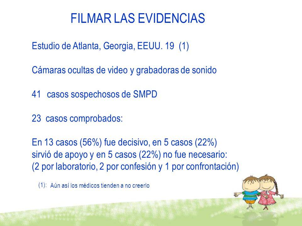 FILMAR LAS EVIDENCIAS Estudio de Atlanta, Georgia, EEUU. 19 (1) Cámaras ocultas de video y grabadoras de sonido 41casos sospechosos de SMPD 23 casos c