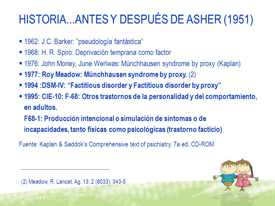 1962: J.C. Barker: pseudología fantástica 1968: H. R. Spiro: Deprivación temprana como factor 1976: John Money, June Werlwas: Münchhausen syndrome by