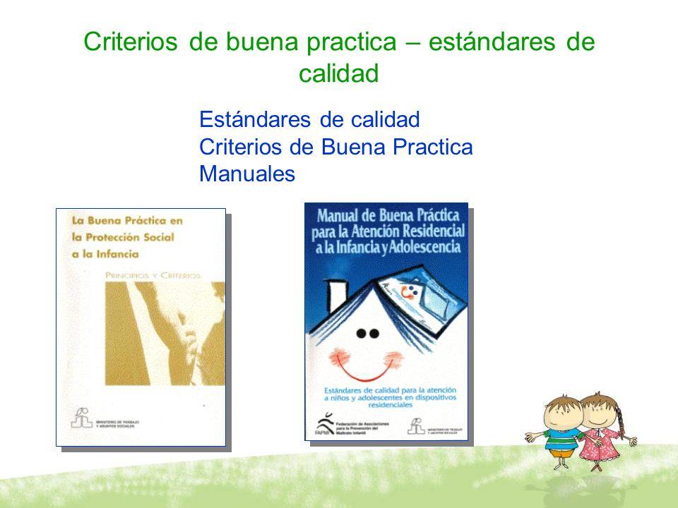 Criterios de buena practica – estándares de calidad Estándares de calidad Criterios de Buena Practica Manuales