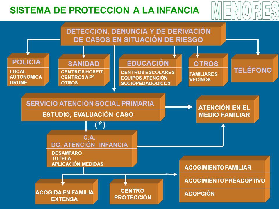SISTEMA DE PROTECCION A LA INFANCIA DETECCION, DENUNCIA Y DE DERIVACIÓN DE CASOS EN SITUACIÓN DE RIESGO POLICIA SANIDAD EDUCACIÓN TELÉFONO OTROS SERVI