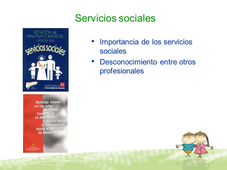Servicios sociales Importancia de los servicios sociales Desconocimiento entre otros profesionales