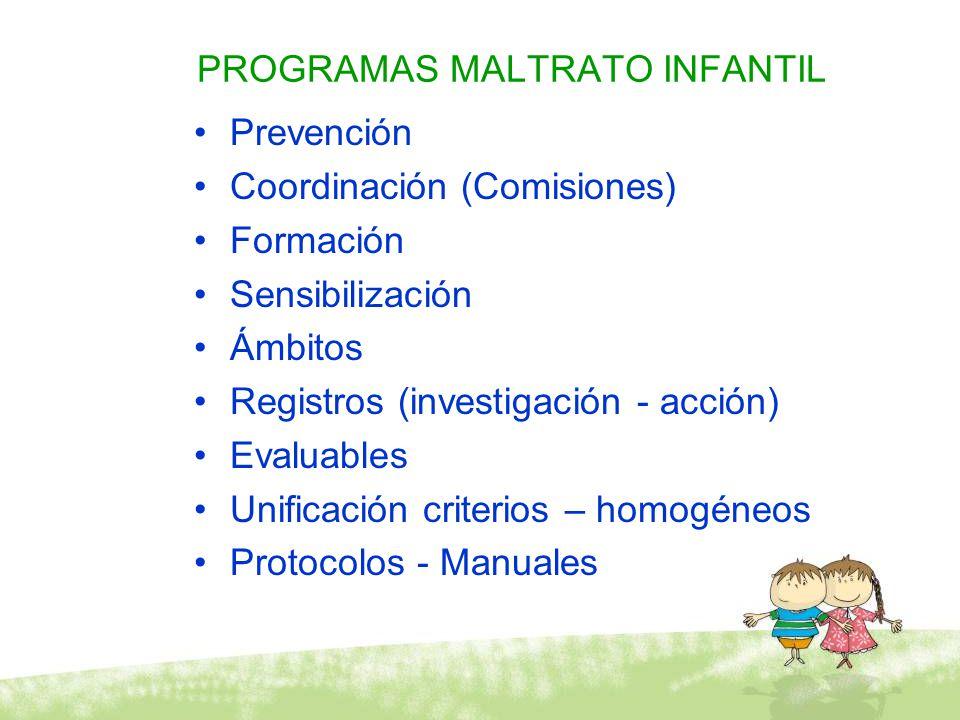 PROGRAMAS MALTRATO INFANTIL Prevención Coordinación (Comisiones) Formación Sensibilización Ámbitos Registros (investigación - acción) Evaluables Unifi