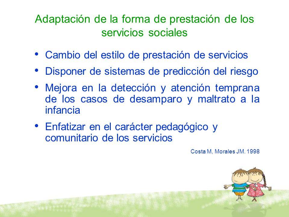 Adaptación de la forma de prestación de los servicios sociales Cambio del estilo de prestación de servicios Disponer de sistemas de predicción del rie
