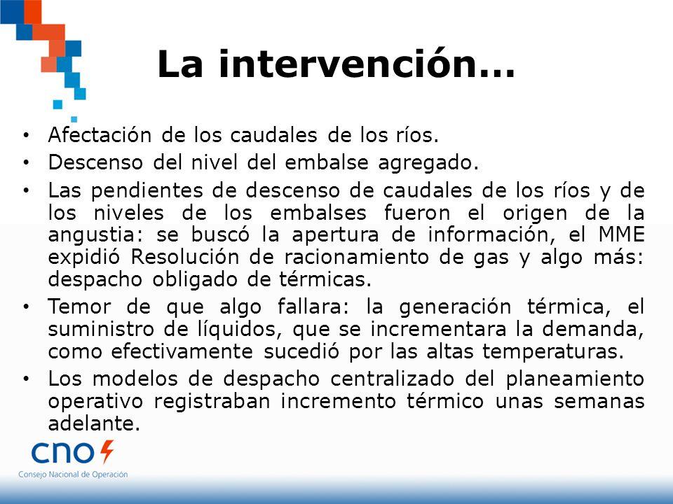 La intervención… Afectación de los caudales de los ríos. Descenso del nivel del embalse agregado. Las pendientes de descenso de caudales de los ríos y