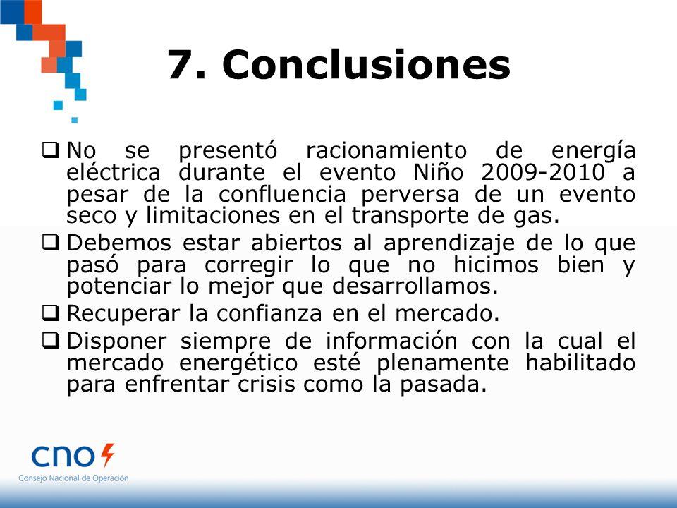 7. Conclusiones No se presentó racionamiento de energía eléctrica durante el evento Niño 2009-2010 a pesar de la confluencia perversa de un evento sec