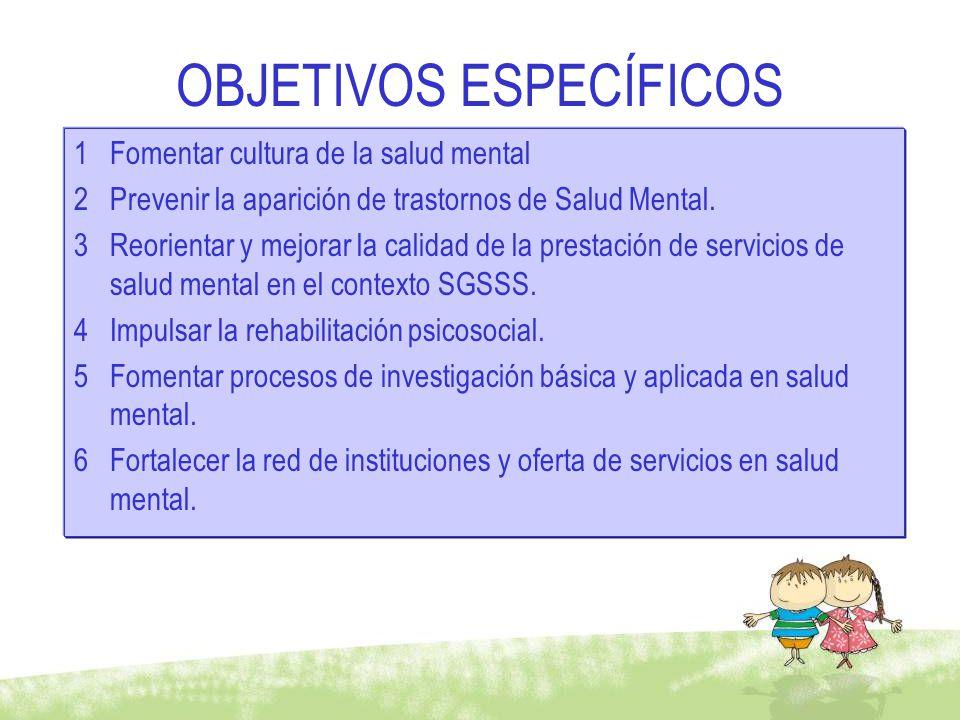 OBJETIVOS ESPECÍFICOS 1Fomentar cultura de la salud mental 2Prevenir la aparición de trastornos de Salud Mental. 3Reorientar y mejorar la calidad de l