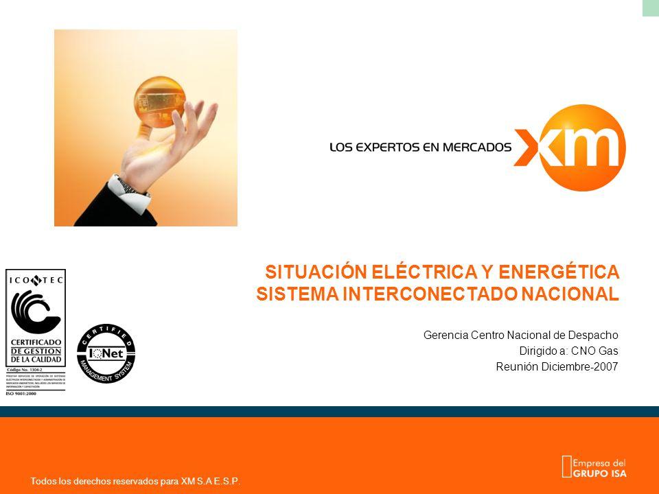 Todos los derechos reservados para XM S.A E.S.P. SITUACIÓN ELÉCTRICA Y ENERGÉTICA SISTEMA INTERCONECTADO NACIONAL Gerencia Centro Nacional de Despacho