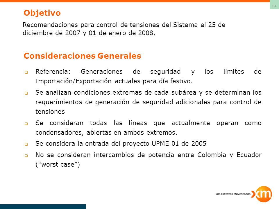 21 Objetivo Recomendaciones para control de tensiones del Sistema el 25 de diciembre de 2007 y 01 de enero de 2008. Consideraciones Generales Referenc