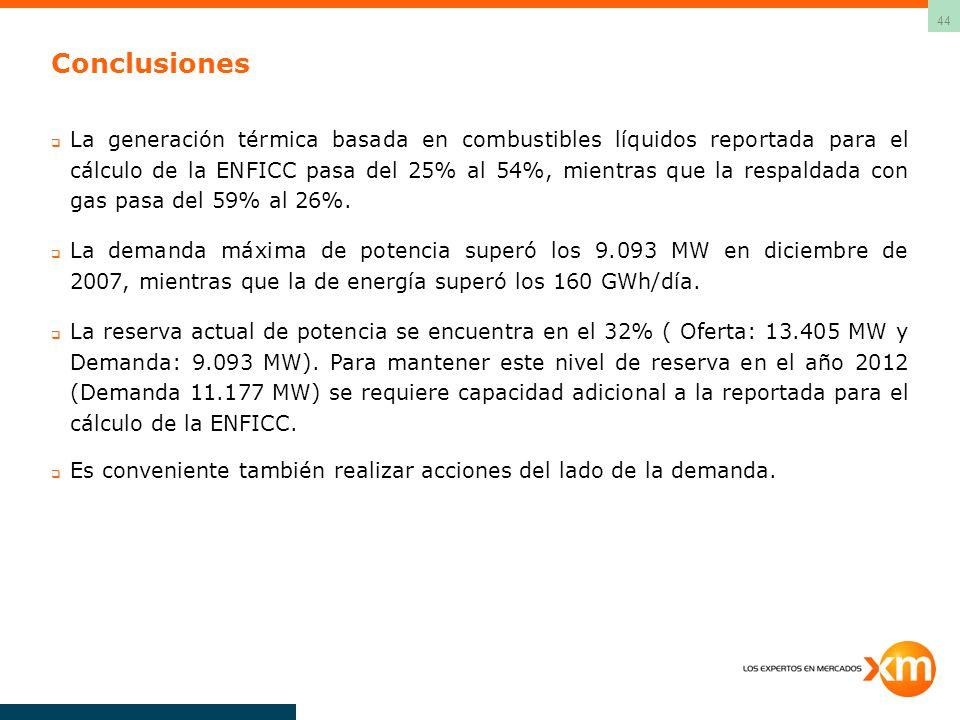 44 Conclusiones La generación térmica basada en combustibles líquidos reportada para el cálculo de la ENFICC pasa del 25% al 54%, mientras que la respaldada con gas pasa del 59% al 26%.