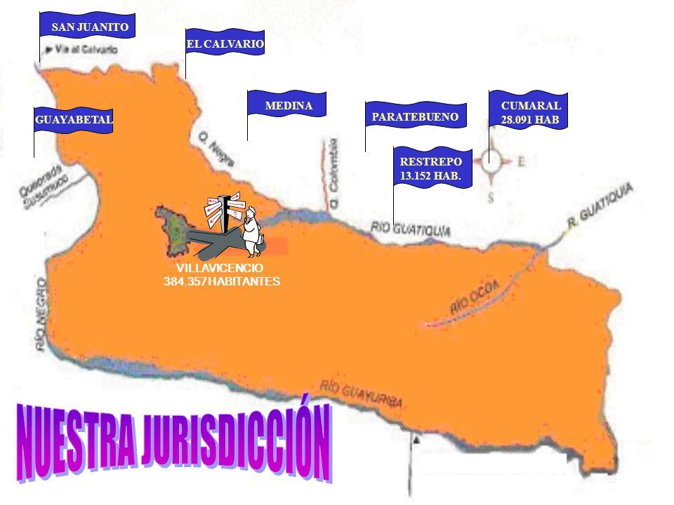 GUAYABETAL EL CALVARIORESTREPO 13.152 HAB. SAN JUANITO VILLAVICENCIO 384.357 HABITANTES MEDINACUMARAL 28.091 HAB PARATEBUENO