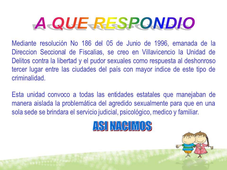 Mediante resolución No 186 del 05 de Junio de 1996, emanada de la Direccion Seccional de Fiscalias, se creo en Villavicencio la Unidad de Delitos cont