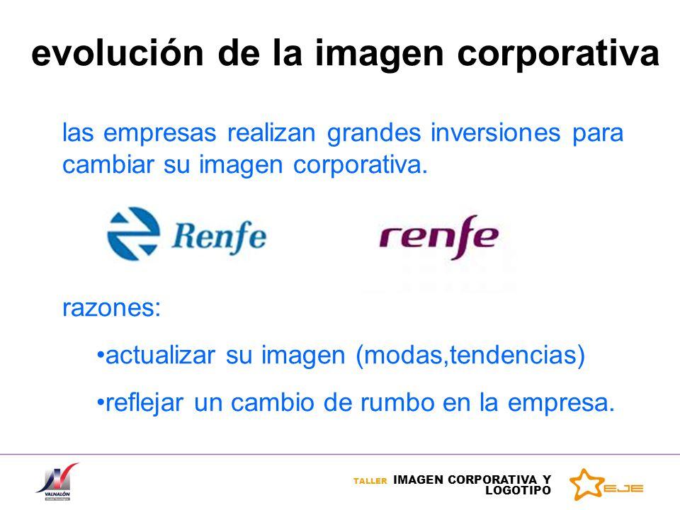 TALLER IMAGEN CORPORATIVA Y LOGOTIPO evolución de la imagen corporativa las empresas realizan grandes inversiones para cambiar su imagen corporativa.