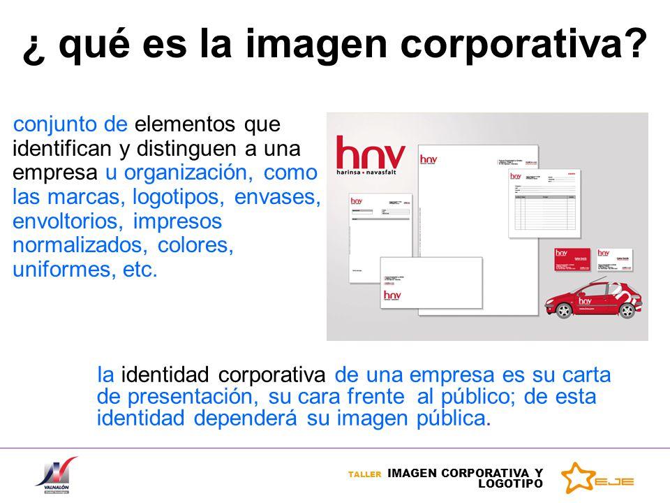 TALLER IMAGEN CORPORATIVA Y LOGOTIPO conjunto de elementos que identifican y distinguen a una empresa u organización, como las marcas, logotipos, enva