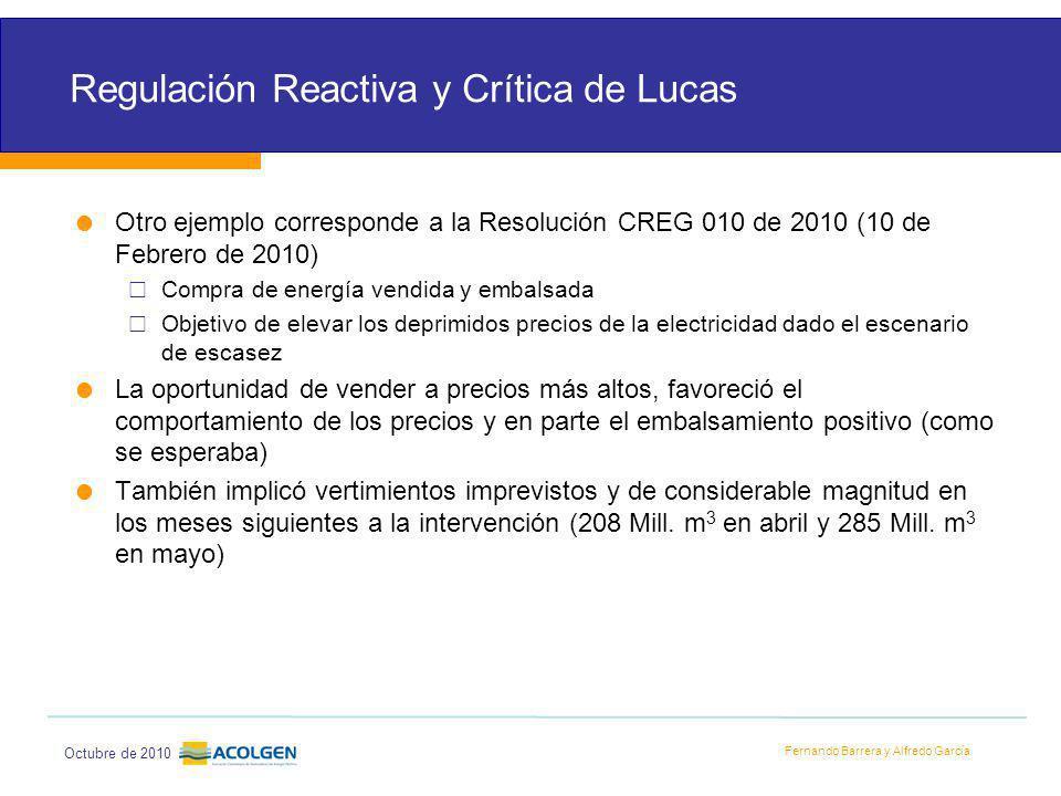 Fernando Barrera y Alfredo García Octubre de 2010 Regulación Reactiva y Crítica de Lucas Otro ejemplo corresponde a la Resolución CREG 010 de 2010 (10