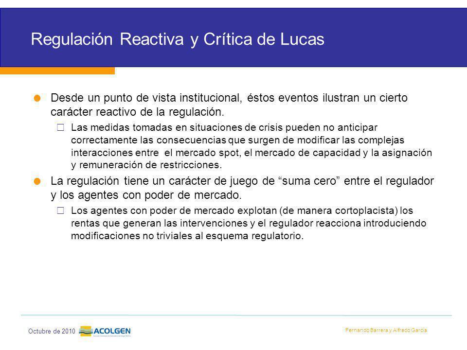 Fernando Barrera y Alfredo García Octubre de 2010 Regulación Reactiva y Crítica de Lucas Desde un punto de vista institucional, éstos eventos ilustran un cierto carácter reactivo de la regulación.