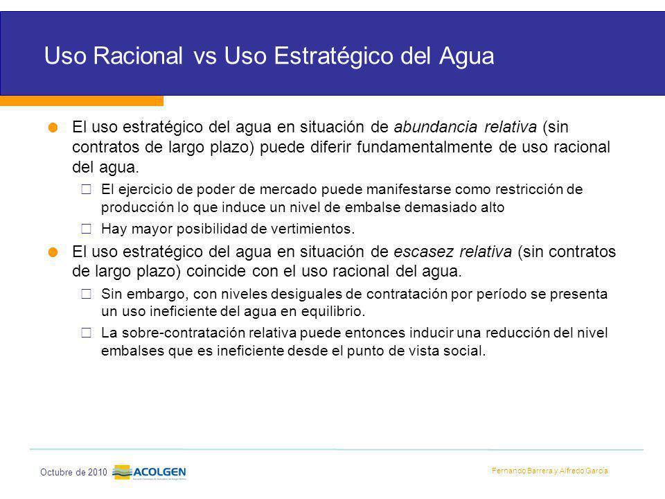 Fernando Barrera y Alfredo García Octubre de 2010 Uso Racional vs Uso Estratégico del Agua El uso estratégico del agua en situación de abundancia relativa (sin contratos de largo plazo) puede diferir fundamentalmente de uso racional del agua.