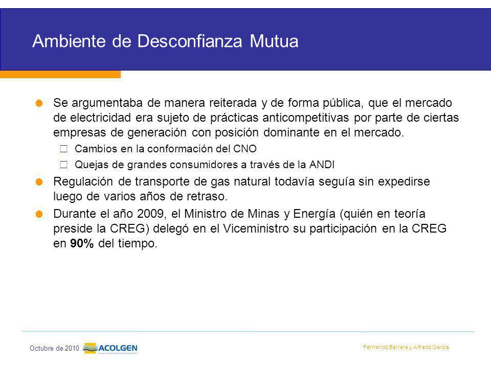 Fernando Barrera y Alfredo García Octubre de 2010 Ambiente de Desconfianza Mutua Se argumentaba de manera reiterada y de forma pública, que el mercado de electricidad era sujeto de prácticas anticompetitivas por parte de ciertas empresas de generación con posición dominante en el mercado.