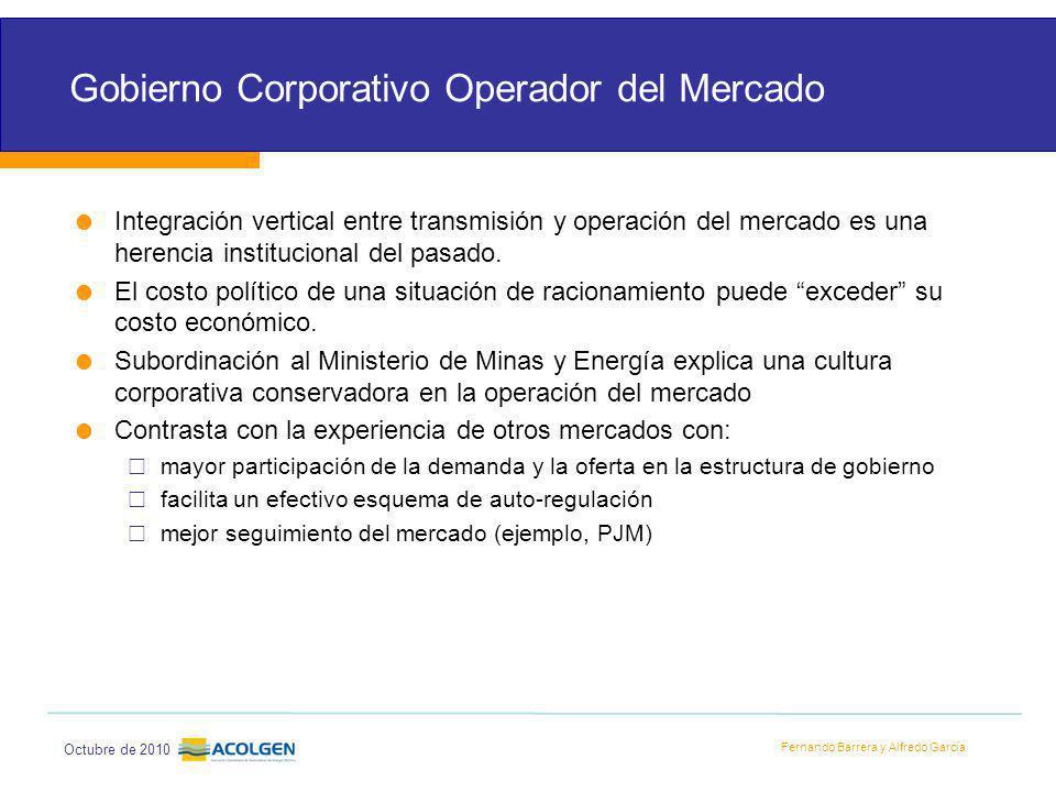 Fernando Barrera y Alfredo García Octubre de 2010 Gobierno Corporativo Operador del Mercado Integración vertical entre transmisión y operación del mercado es una herencia institucional del pasado.