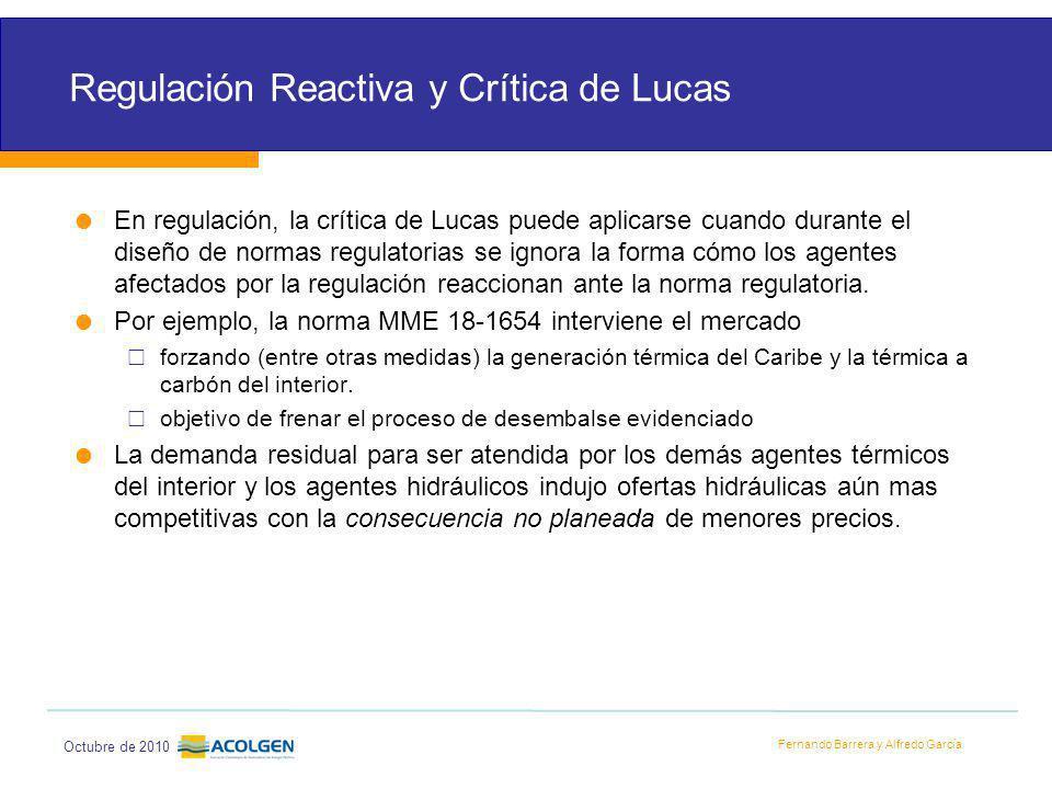 Fernando Barrera y Alfredo García Octubre de 2010 Regulación Reactiva y Crítica de Lucas En regulación, la crítica de Lucas puede aplicarse cuando durante el diseño de normas regulatorias se ignora la forma cómo los agentes afectados por la regulación reaccionan ante la norma regulatoria.