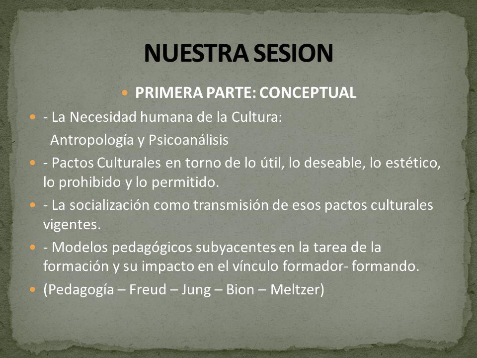 PRIMERA PARTE: CONCEPTUAL - La Necesidad humana de la Cultura: Antropología y Psicoanálisis - Pactos Culturales en torno de lo útil, lo deseable, lo e
