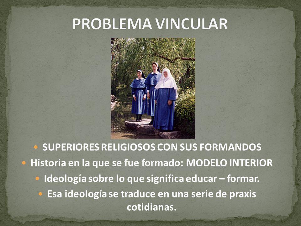 SUPERIORES RELIGIOSOS CON SUS FORMANDOS Historia en la que se fue formado: MODELO INTERIOR Ideología sobre lo que significa educar – formar. Esa ideol