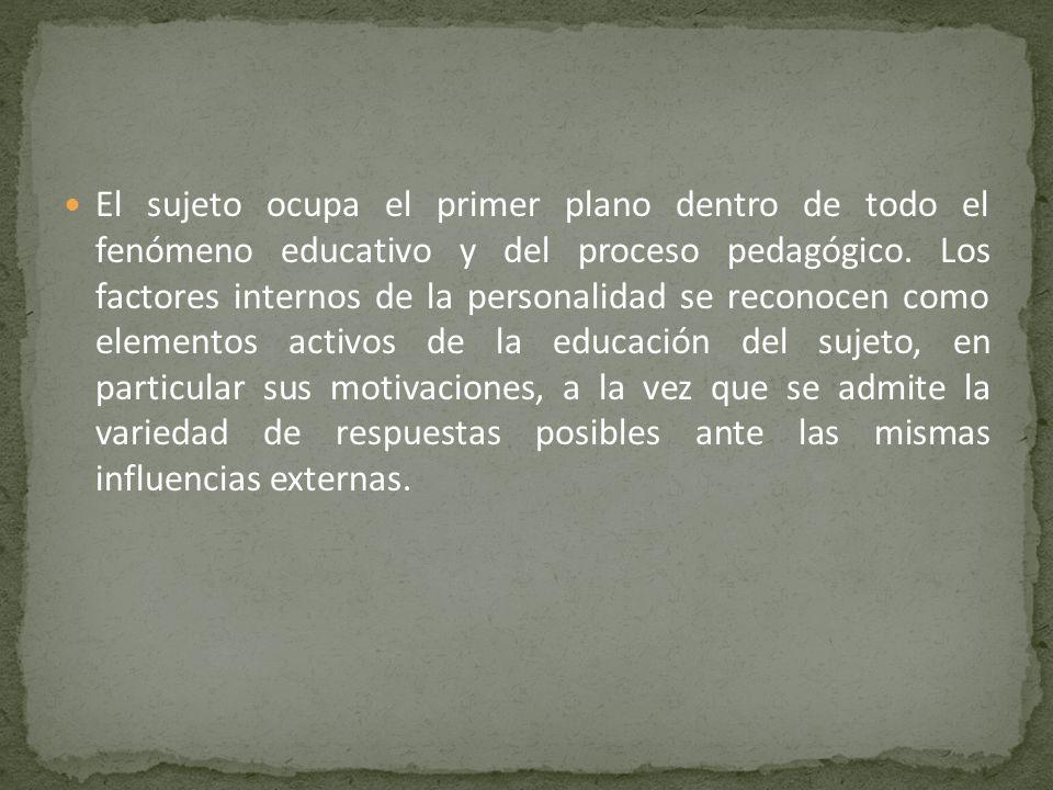 El sujeto ocupa el primer plano dentro de todo el fenómeno educativo y del proceso pedagógico. Los factores internos de la personalidad se reconocen c