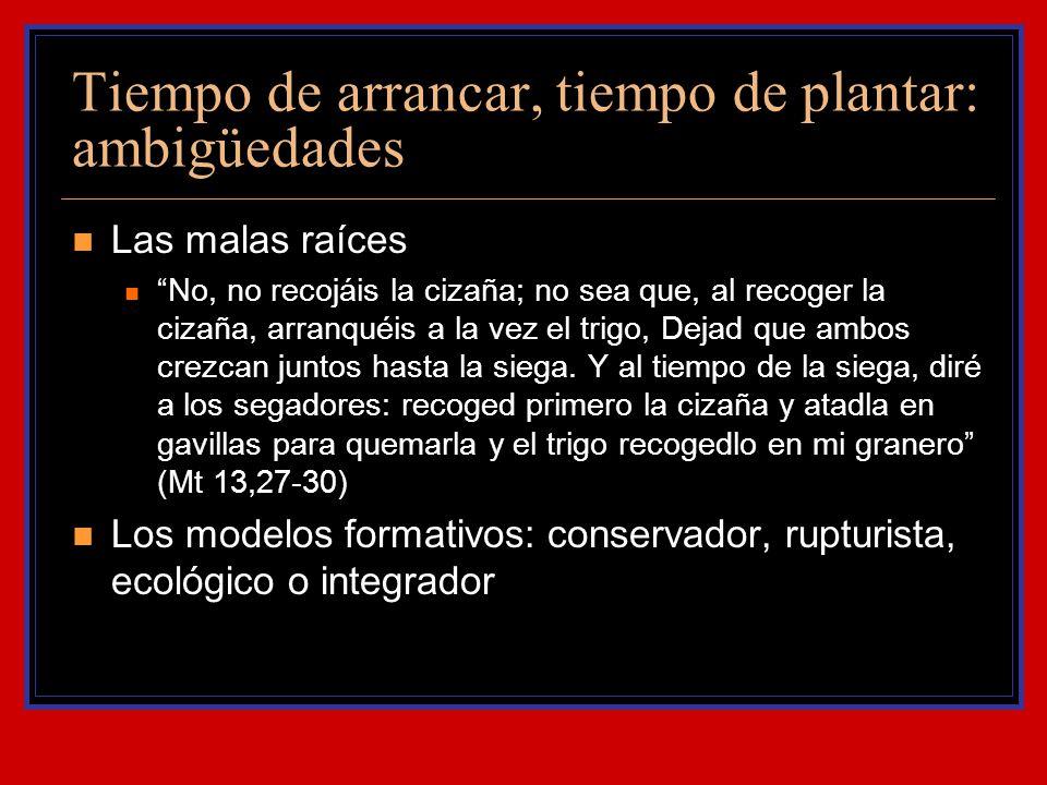 Tiempo de arrancar, tiempo de plantar: ambigüedades Las malas raíces No, no recojáis la cizaña; no sea que, al recoger la cizaña, arranquéis a la vez
