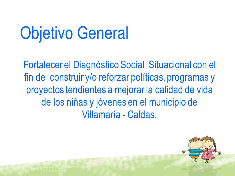 Objetivo General Fortalecer el Diagnóstico Social Situacional con el fin de construir y/o reforzar políticas, programas y proyectos tendientes a mejor