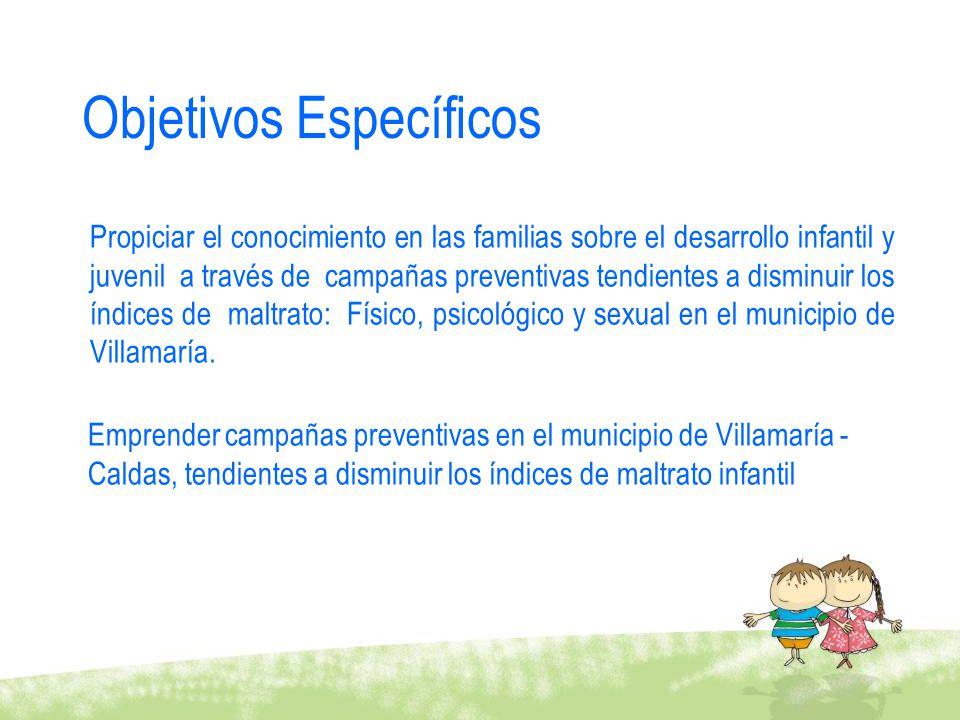Objetivos Específicos Propiciar el conocimiento en las familias sobre el desarrollo infantil y juvenil a través de campañas preventivas tendientes a d