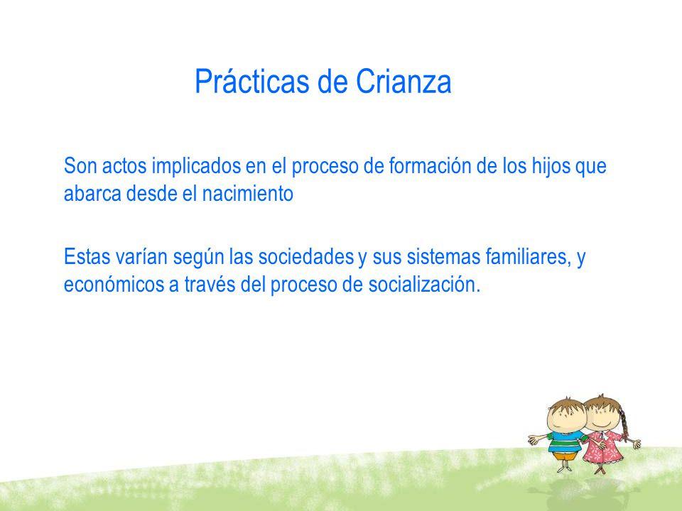 Prácticas de Crianza Son actos implicados en el proceso de formación de los hijos que abarca desde el nacimiento Estas varían según las sociedades y s