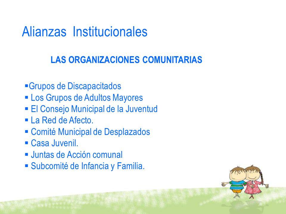 Grupos de Discapacitados Los Grupos de Adultos Mayores El Consejo Municipal de la Juventud La Red de Afecto. Comité Municipal de Desplazados Casa Juve