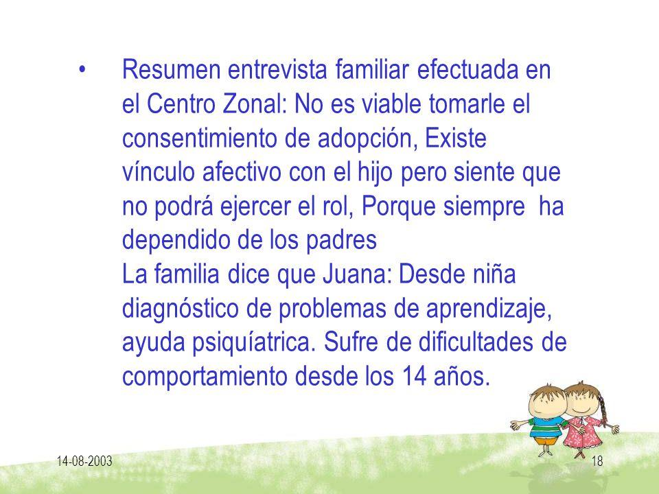 14-08-200318 Resumen entrevista familiar efectuada en el Centro Zonal: No es viable tomarle el consentimiento de adopción, Existe vínculo afectivo con