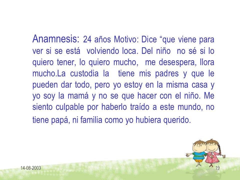 14-08-200319 Anamnesis: 24 años Motivo: Dice que viene para ver si se está volviendo loca. Del niño no sé si lo quiero tener, lo quiero mucho, me dese