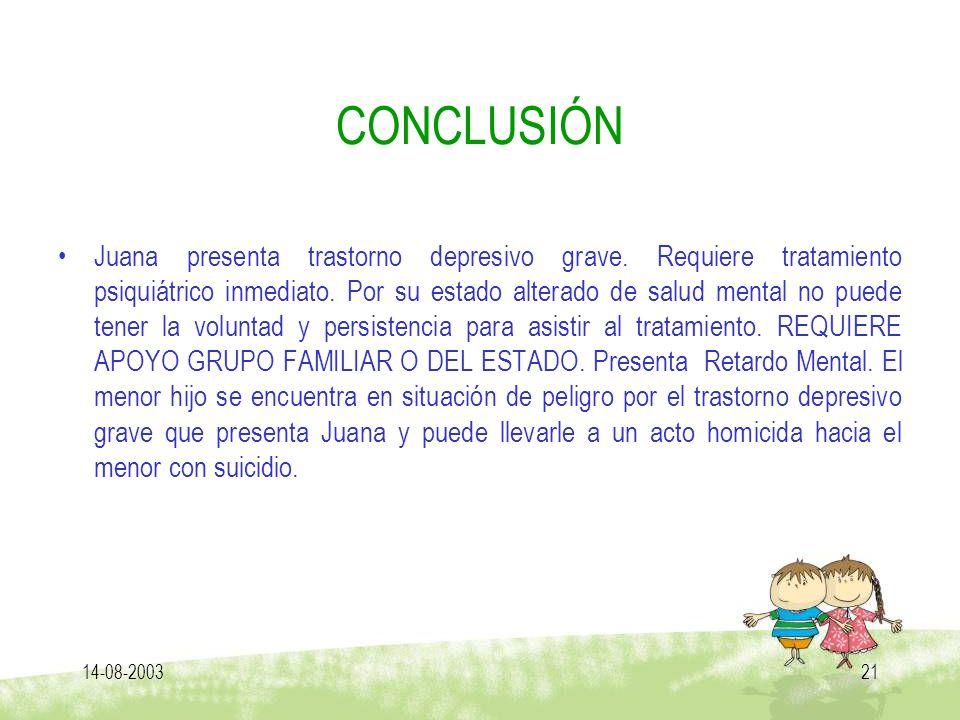 14-08-200321 CONCLUSIÓN Juana presenta trastorno depresivo grave. Requiere tratamiento psiquiátrico inmediato. Por su estado alterado de salud mental