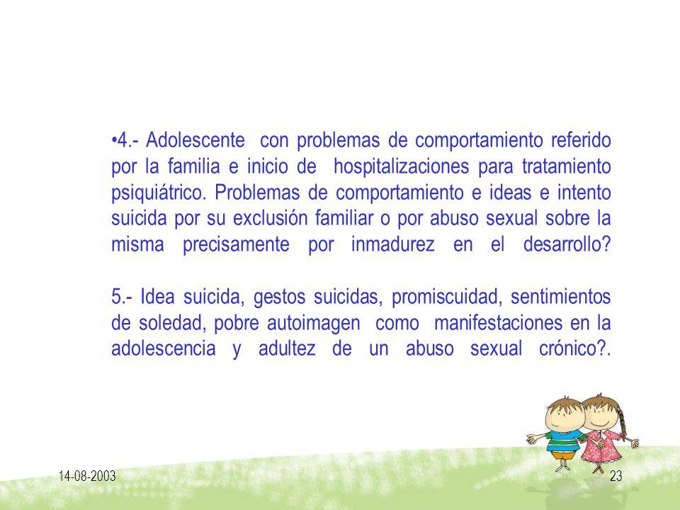 14-08-200323 4.- Adolescente con problemas de comportamiento referido por la familia e inicio de hospitalizaciones para tratamiento psiquiátrico. Prob