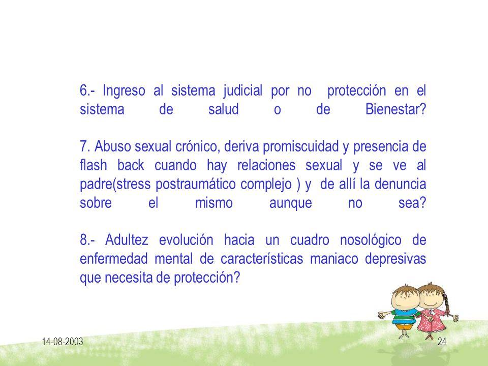 14-08-200324 6.- Ingreso al sistema judicial por no protección en el sistema de salud o de Bienestar? 7. Abuso sexual crónico, deriva promiscuidad y p