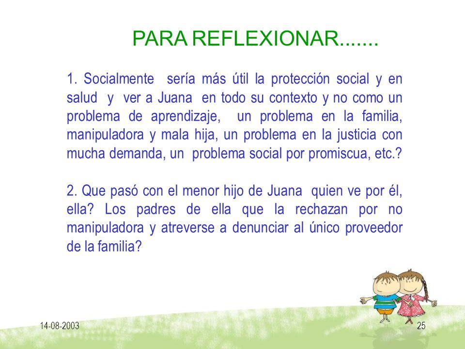 14-08-200325 PARA REFLEXIONAR....... 1. Socialmente sería más útil la protección social y en salud y ver a Juana en todo su contexto y no como un prob