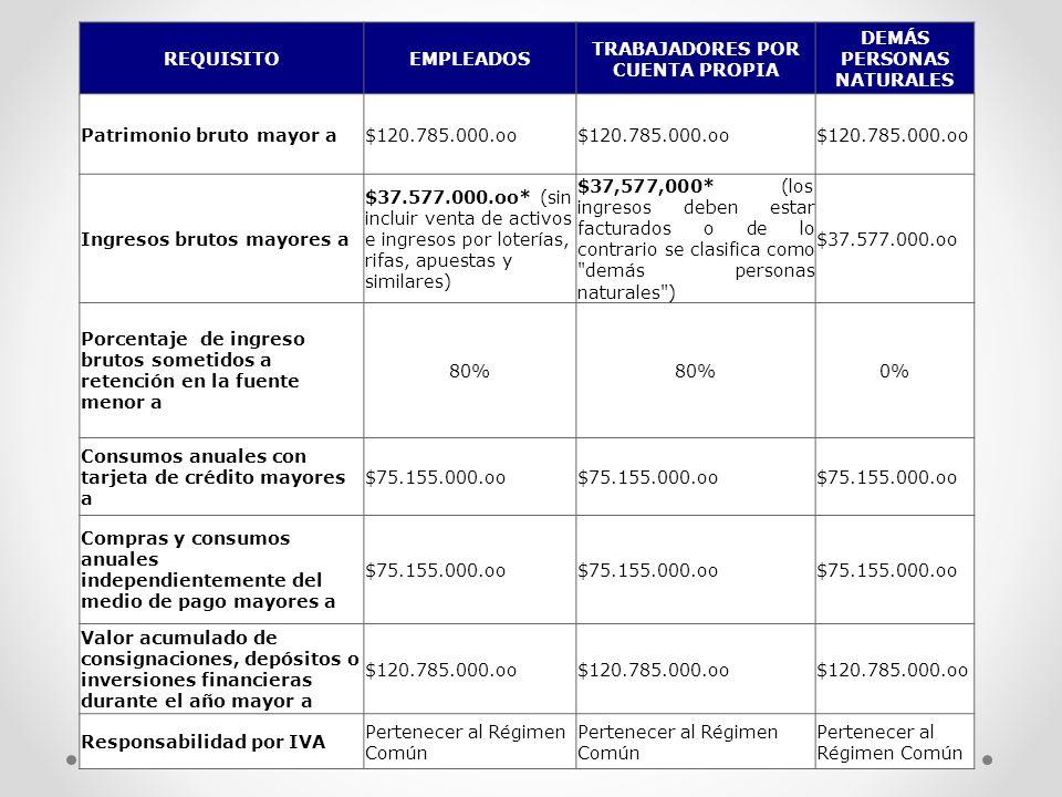 REQUISITOEMPLEADOS TRABAJADORES POR CUENTA PROPIA DEMÁS PERSONAS NATURALES Patrimonio bruto mayor a$120.785.000.oo Ingresos brutos mayores a $37.577.0