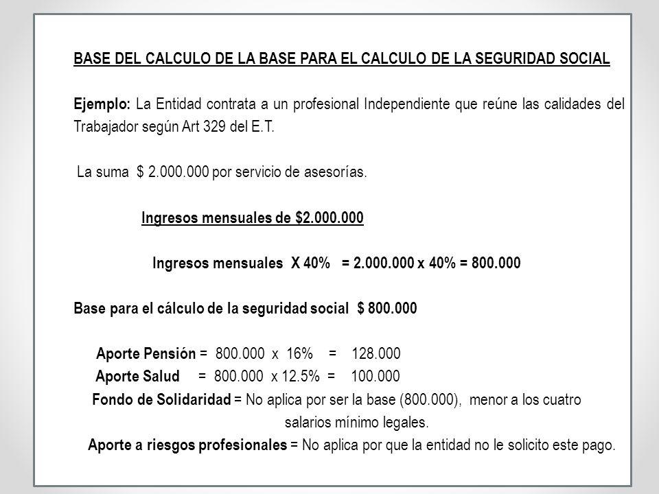 BASE DEL CALCULO DE LA BASE PARA EL CALCULO DE LA SEGURIDAD SOCIAL Ejemplo: La Entidad contrata a un profesional Independiente que reúne las calidades