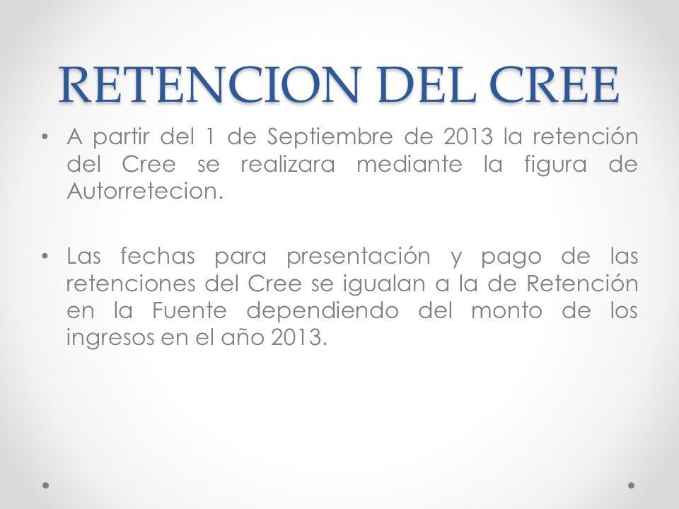 RETENCION DEL CREE A partir del 1 de Septiembre de 2013 la retención del Cree se realizara mediante la figura de Autorretecion. Las fechas para presen