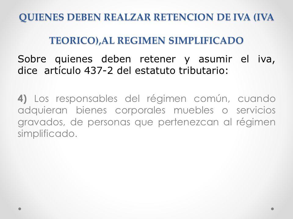 QUIENES DEBEN REALZAR RETENCION DE IVA (IVA TEORICO),AL REGIMEN SIMPLIFICADO Sobre quienes deben retener y asumir el iva, dice artículo 437-2 del esta