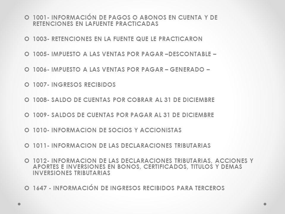 1001- INFORMACIÓN DE PAGOS O ABONOS EN CUENTA Y DE RETENCIONES EN LAFUENTE PRACTICADAS 1003- RETENCIONES EN LA FUENTE QUE LE PRACTICARON 1005- IMPUEST
