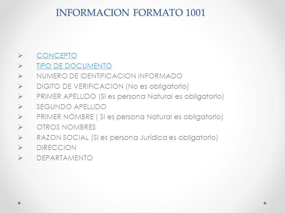 INFORMACION FORMATO 1001 CONCEPTO TIPO DE DOCUMENTO NUMERO DE IDENTIFICACION INFORMADO DIGITO DE VERIFICACION (No es obligatorio) PRIMER APELLIDO (Si
