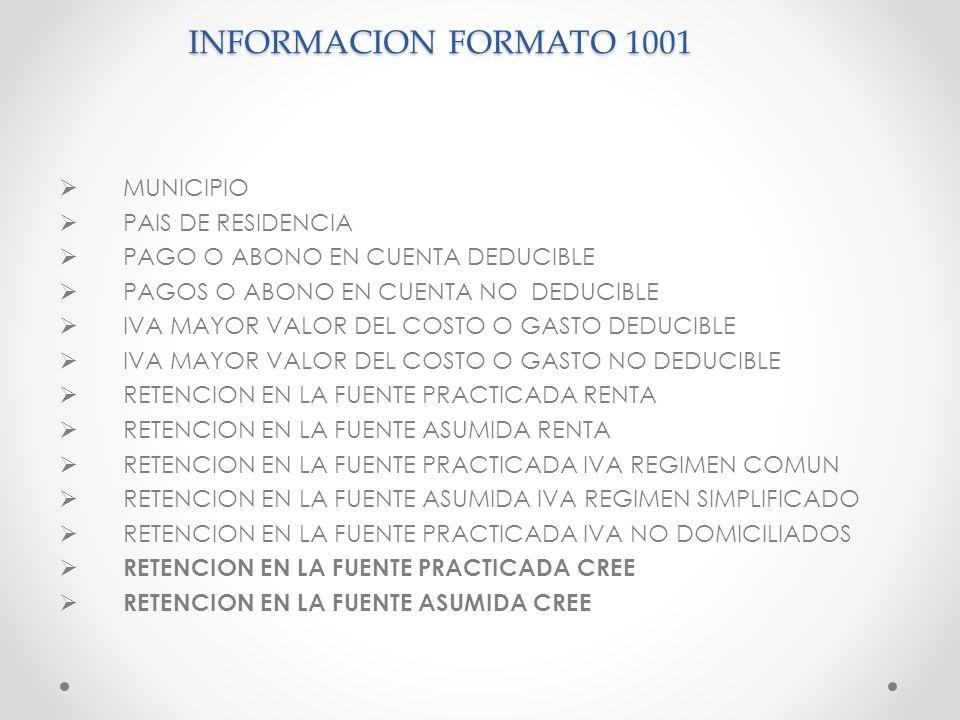 INFORMACION FORMATO 1001 MUNICIPIO PAIS DE RESIDENCIA PAGO O ABONO EN CUENTA DEDUCIBLE PAGOS O ABONO EN CUENTA NO DEDUCIBLE IVA MAYOR VALOR DEL COSTO