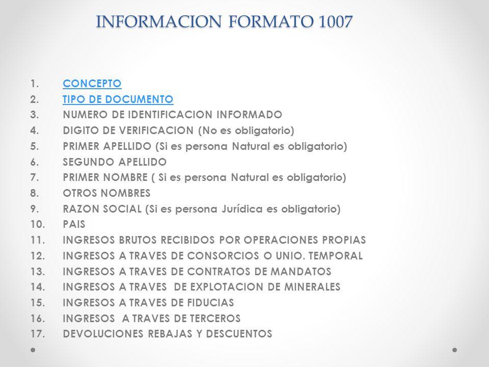 INFORMACION FORMATO 1007 1.CONCEPTOCONCEPTO 2.TIPO DE DOCUMENTOTIPO DE DOCUMENTO 3.NUMERO DE IDENTIFICACION INFORMADO 4.DIGITO DE VERIFICACION (No es
