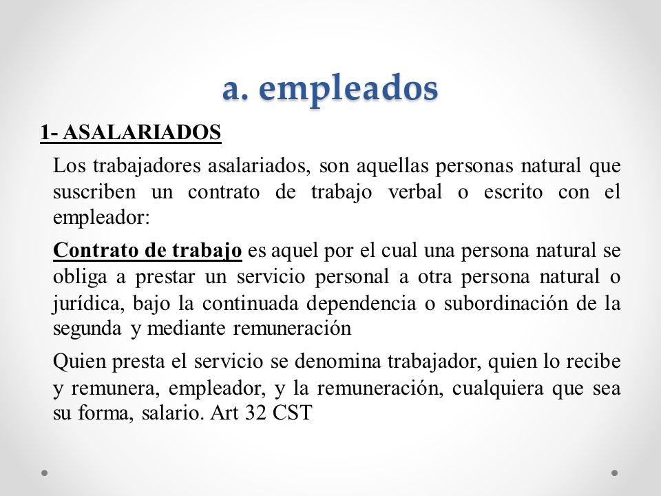 a. empleados 1- ASALARIADOS Los trabajadores asalariados, son aquellas personas natural que suscriben un contrato de trabajo verbal o escrito con el e