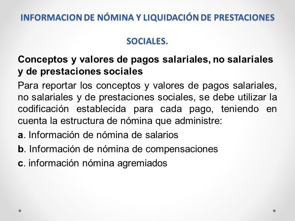 INFORMACION DE NÓMINA Y LIQUIDACIÓN DE PRESTACIONES SOCIALES. Conceptos y valores de pagos salariales, no salariales y de prestaciones sociales Para r