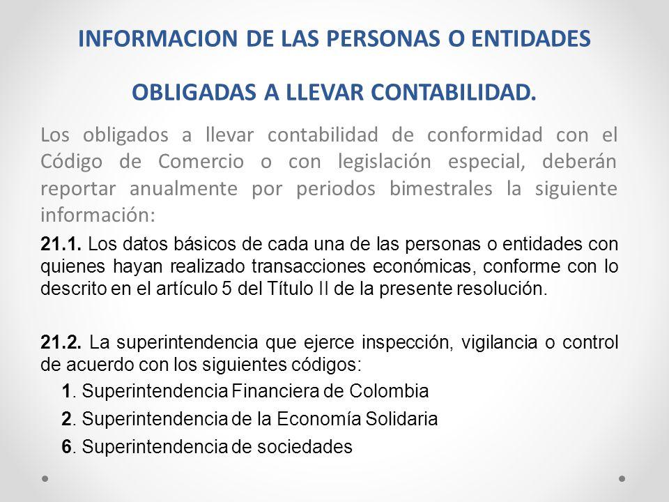 INFORMACION DE LAS PERSONAS O ENTIDADES OBLIGADAS A LLEVAR CONTABILIDAD. Los obligados a llevar contabilidad de conformidad con el Código de Comercio