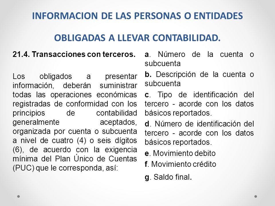 INFORMACION DE LAS PERSONAS O ENTIDADES OBLIGADAS A LLEVAR CONTABILIDAD. 21.4. Transacciones con terceros. Los obligados a presentar información, debe